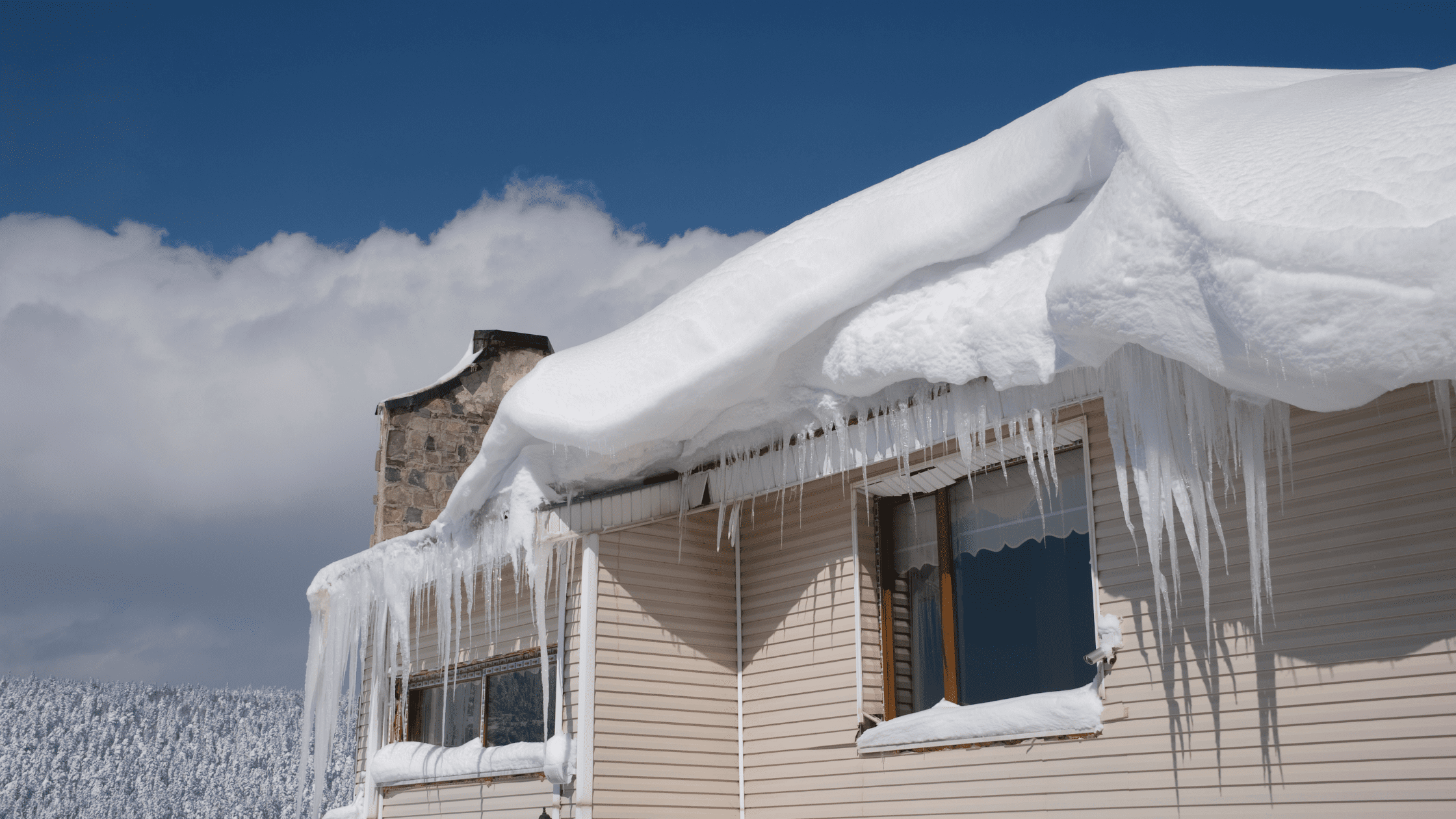 roof damage in RI from ice dam