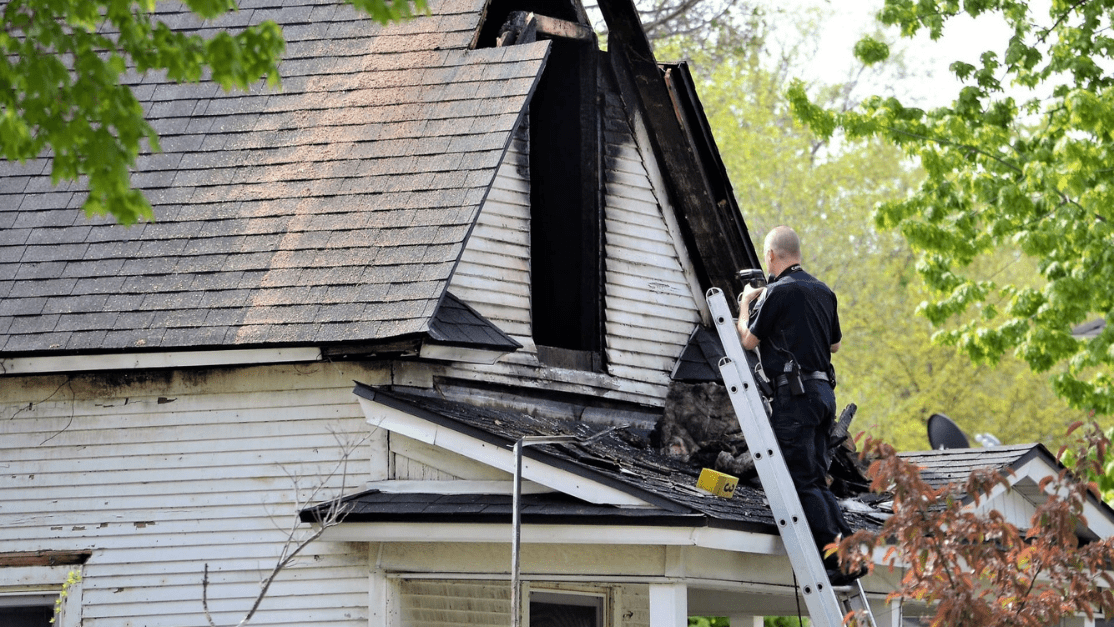 inspecting a home after fire damage. One of the first steps in the fire damage restoration process