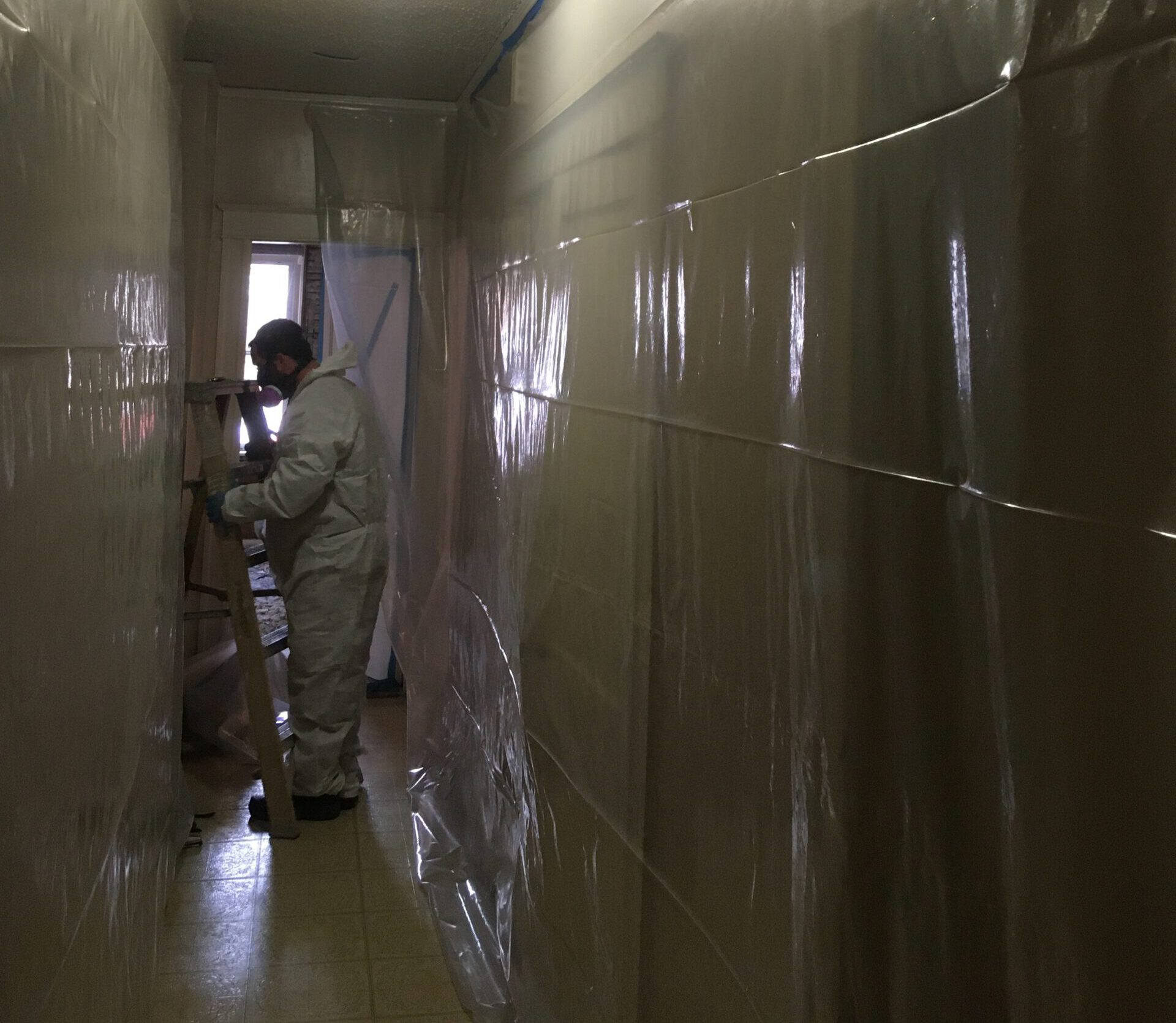 containment set up for cleaning soot damage
