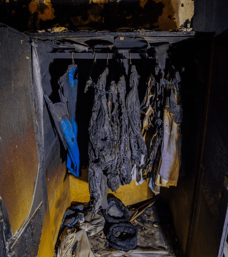 burned clothing must be thrown away after a fire