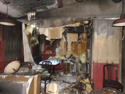 fire damage after water damage call your local water restoration company in ri