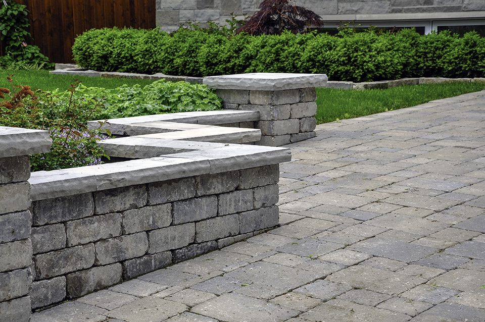 Residential patio and retaining walls